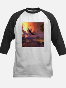 Awesome fantasy landscape with flying eagle Baseba