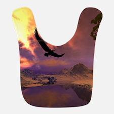 Awesome fantasy landscape with flying eagle Bib
