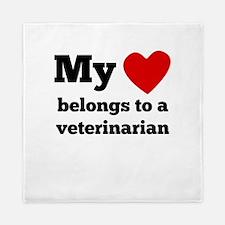 My Heart Belongs To A Veterinarian Queen Duvet