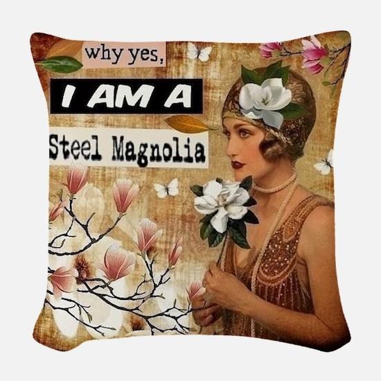 Steel Magnolia Woven Throw Pillow