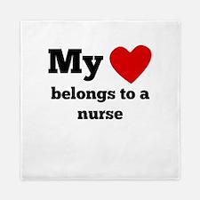 My Heart Belongs To A Nurse Queen Duvet