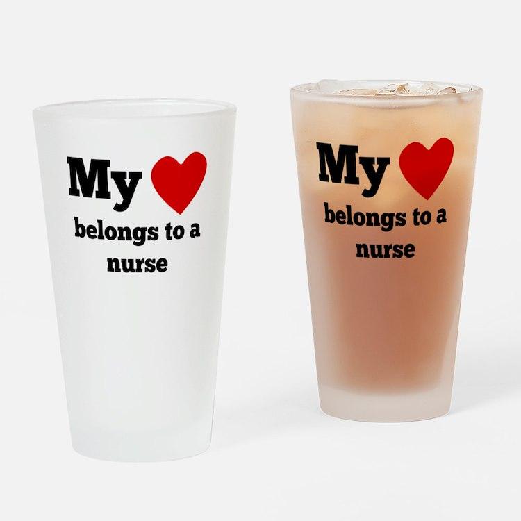My Heart Belongs To A Nurse Drinking Glass