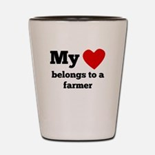 My Heart Belongs To A Farmer Shot Glass