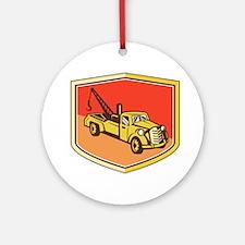 Vintage Tow Truck Wrecker Shield Retro Ornament (R