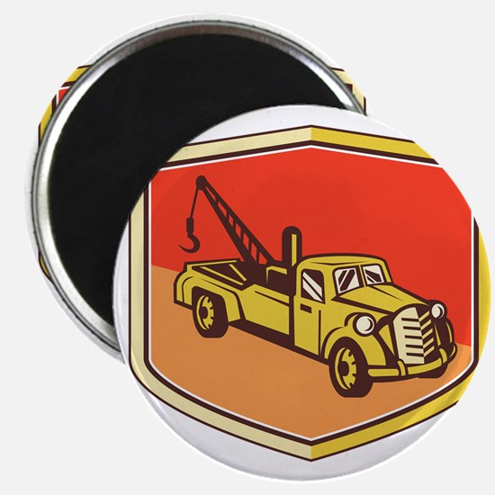 Vintage Tow Truck Wrecker Shield Retro Magnets