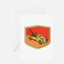 Vintage Tow Truck Wrecker Shield Retro Greeting Ca