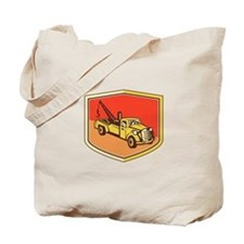 Vintage Tow Truck Wrecker Shield Retro Tote Bag