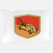 Vintage Tow Truck Wrecker Shield Retro Pillow Case