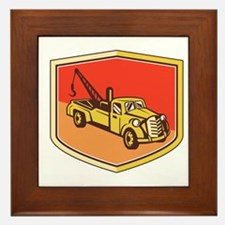 Vintage Tow Truck Wrecker Shield Retro Framed Tile