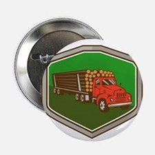 "Truck Vintage Logging Shield Retro 2.25"" Button (1"