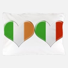 Irish and Italian Heart Flags Pillow Case