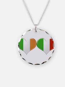Irish and Italian Heart Flag Necklace