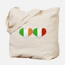 Irish and Italian Heart Flags Tote Bag