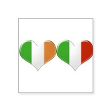 Irish and Italian Heart Flags Sticker