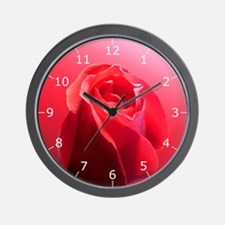 Red Rose Bud #2 Wall Clock