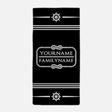 Black and White Nautical Rope Personal Beach Towel