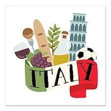 "Italy 1 Square Car Magnet 3"" x 3"""