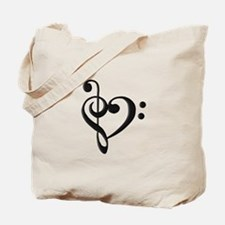 Music Clef Heart Tote Bag