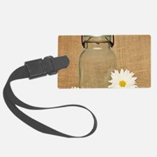 Vintage Mason Jar White Daisies Luggage Tag