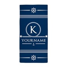 Nautical Anchor Rope Personalized Beach Towel