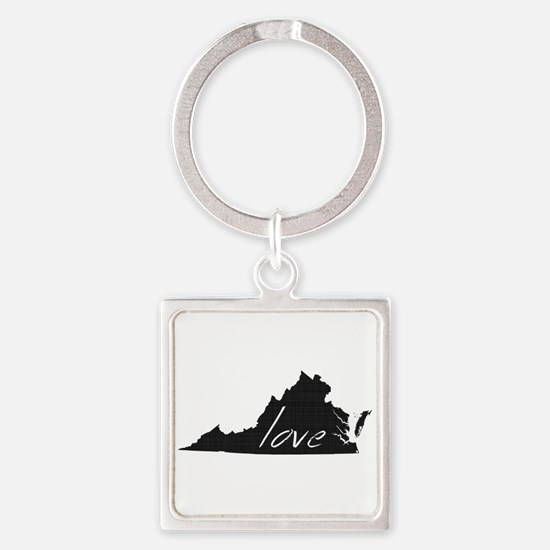 Love Virginia Square Keychain