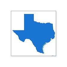 """Bright Blue Texas Outline Square Sticker 3"""" x 3"""""""
