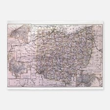 Vintage Map of Ohio (1884) 5'x7'Area Rug