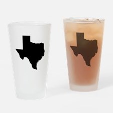 Black Texas Outline Drinking Glass