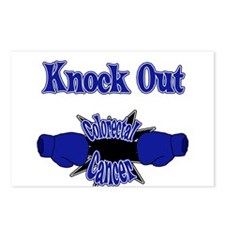 Knock Out Colorectal Cancer blue Postcards (Packag