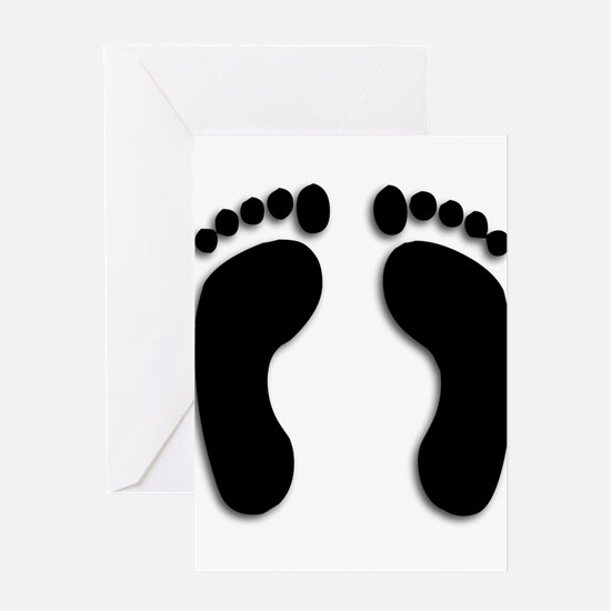 Bare foot Prints Greeting Cards