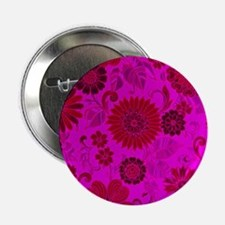 """Bright Pink Retro Flowers 2.25"""" Button (10 pack)"""