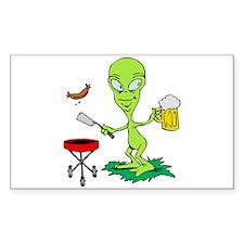 Alien Alcoholic Sticker (Rectangle)