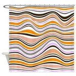 Peach And Lavender Abstract Stripes Shower Curtain