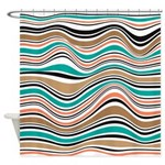 Abstract Wavy Stripes Melon Teal Shower Curtain