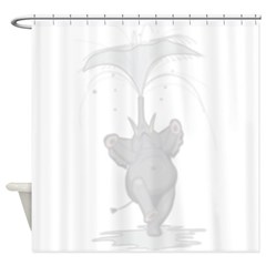Baby Elephant Playing In The Water Shower Curtain
