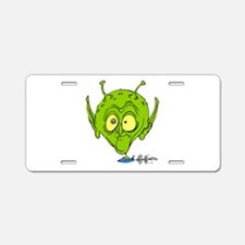 Alien with Giant Head driving Aluminum License Pla