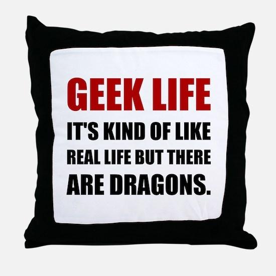 Geek Life Dragons Throw Pillow