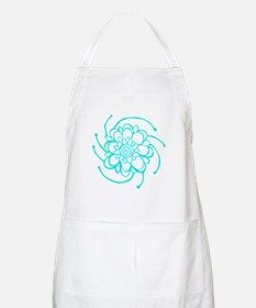 Woodblock Flower Two Turquoise Apron