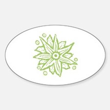 Lime Green Wood Block Fantasy Flowe Decal