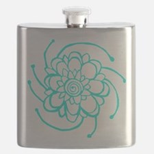 Woodblock Flower Two Turquoise Flask