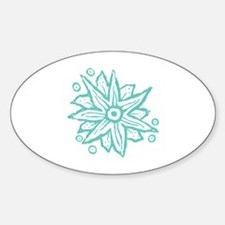 Turquoise Wood Block Fantasy Flower Decal