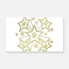 Gold Star Burst Rectangle Car Magnet