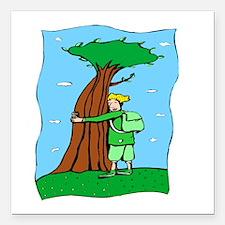"""Tree Hugger Square Car Magnet 3"""" x 3"""""""