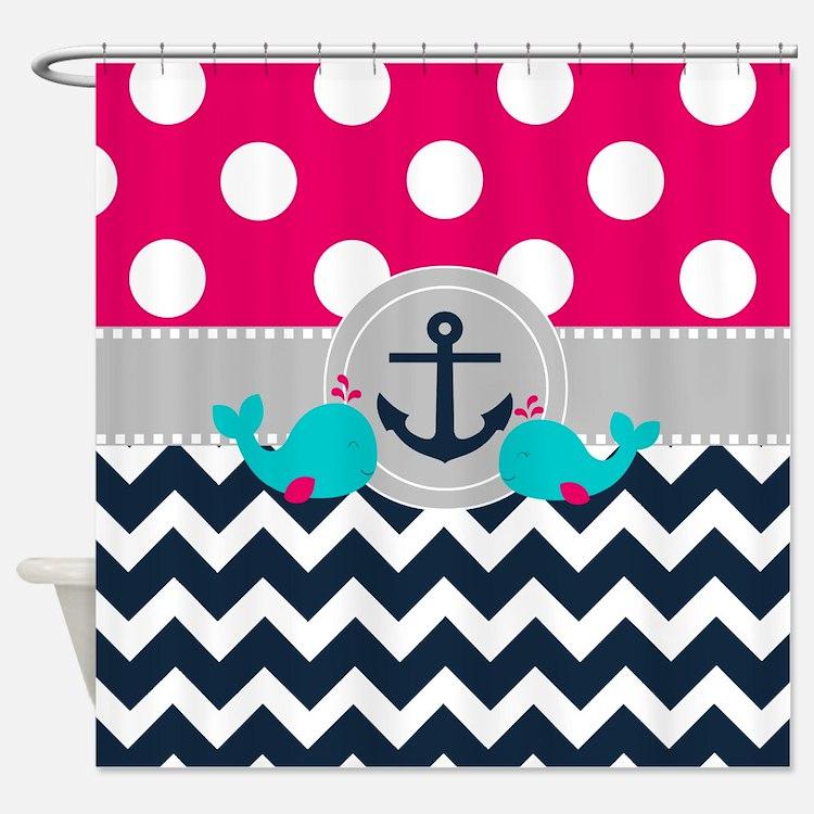 Pink Navy Anchor Chevron Shower Curtain