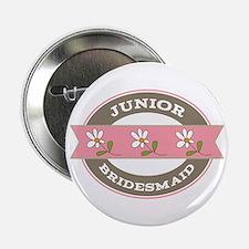 """Junior Bridesmaid flowered 2.25"""" Button"""