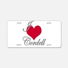 I love (heart) Cordell Aluminum License Plate