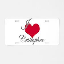 I love (heart) Cristopher Aluminum License Plate