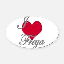 I love (heart) Freya Oval Car Magnet
