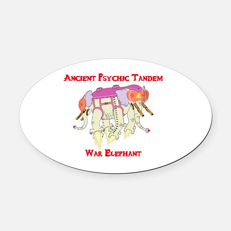 Ancient Psychic Tandem War Elephan Oval Car Magnet