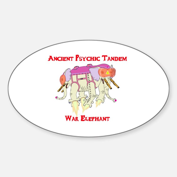 Ancient Psychic Tandem War Elephant Sticker (Oval)